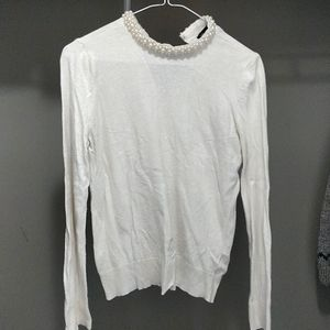 Pearl collar sweater